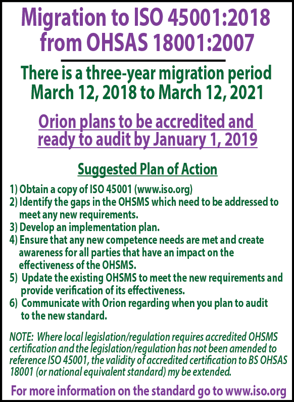 Article 2018 Migration to ISO 45001